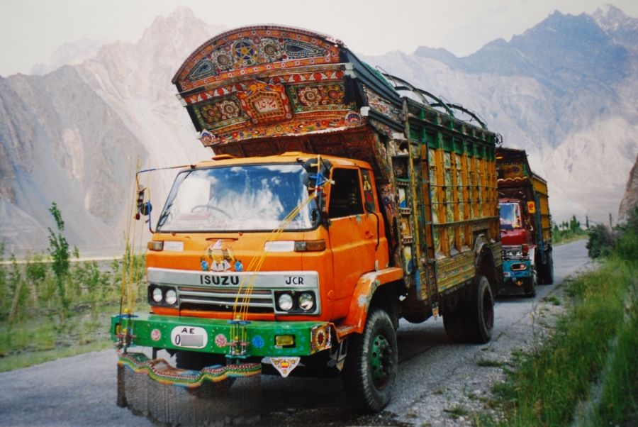 Pakistani truck in Karakoram Highway, passu, Northern Areas, Pakistan