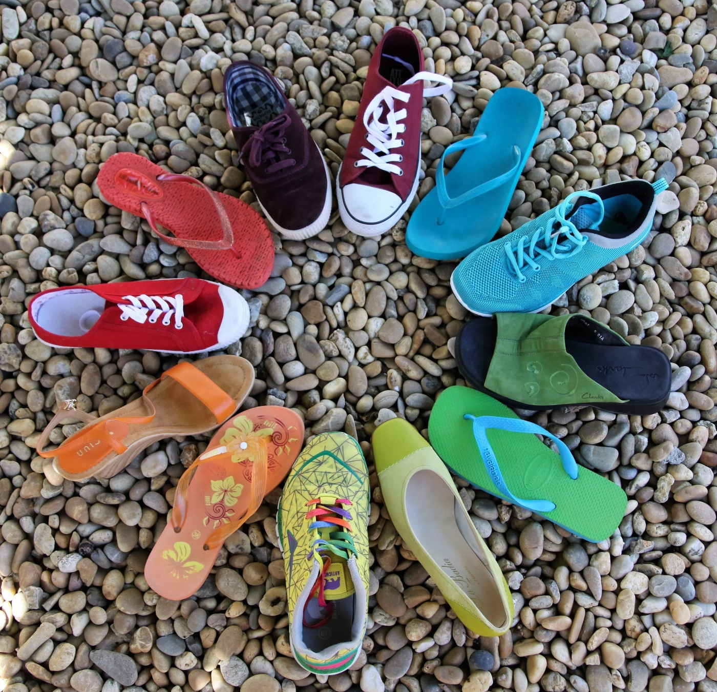 shoes in a circle. rainbow colors